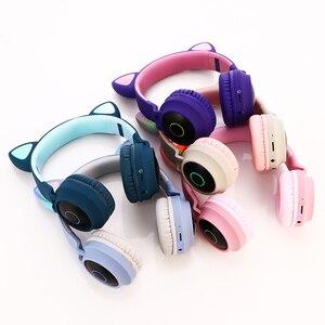 Image 5 - Enfants Bluetooth 5.0 casque lumière LED oreilles de chat casque sans fil écouteur HIFI stéréo basse casque pour téléphones avec microphone