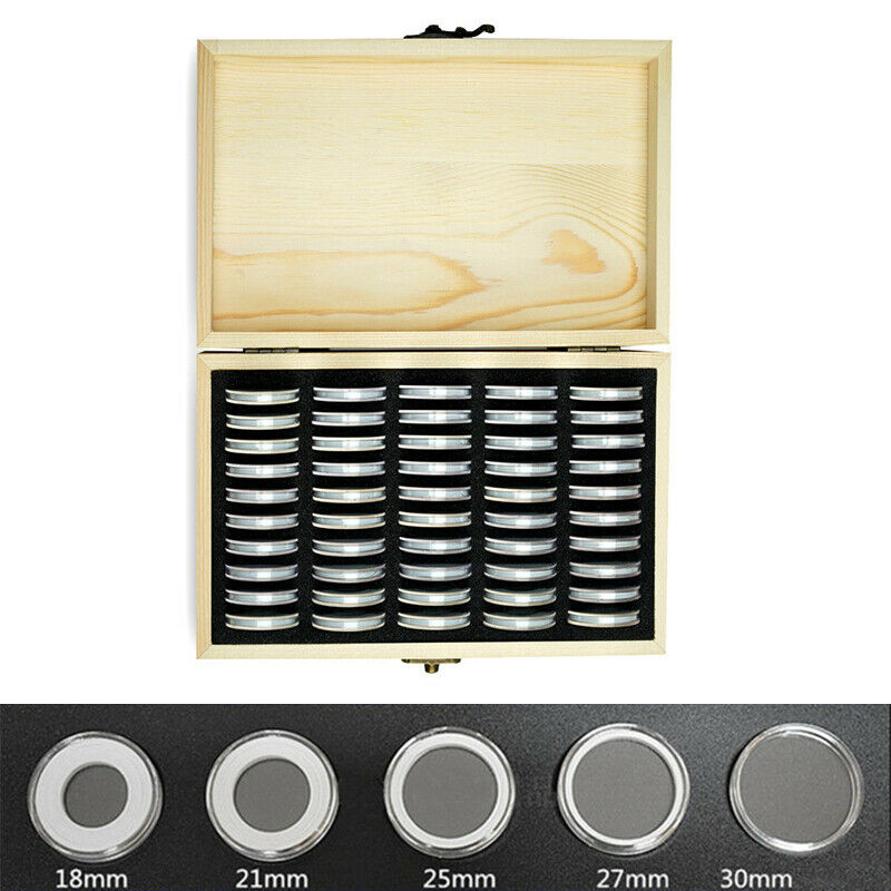 Wooden Coins Display Storage Box 2020 HOT Selling Functional Solid Round Storage Case for Collectible Coin