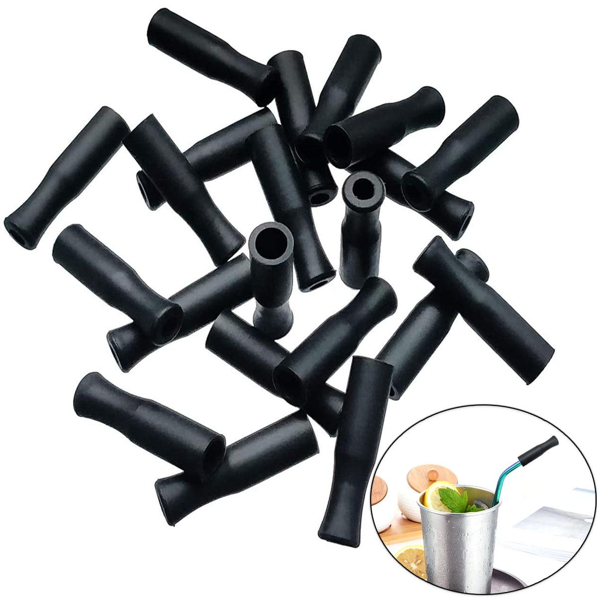 Многоразовые силиконовые наконечники для соломинки, аксессуары для соломинки из нержавеющей стали, наконечники для соломинок, подходят дл...
