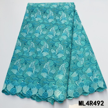 BEAUTIFICAL nigerian lac fabrics Top quality voile lace embroidery fabric 5yards african dry cotton lace fabric ML4R492