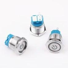 1 шт. 22mm1NO 1NC металлическая латунная Кнопка SwitchPower Mark освещение кольцо мгновенный АВТОСБРОС/самоблокирующаяся Автомобильная кнопка