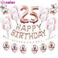 Воздушные шары из фольги с цифрами 25, украшение для вечевечерние НКИ 25 лет, с днем рождения, цвет розовое золото, черный, для мужчин и женщин, ...