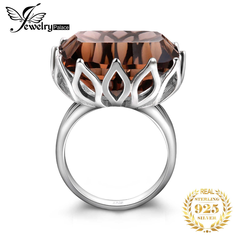 Jewelpalace 23ct enorme côncavo genuine smoky anel de quartzo 925 anéis de prata esterlina para as mulheres prata 925 jóias pedras preciosas jóias