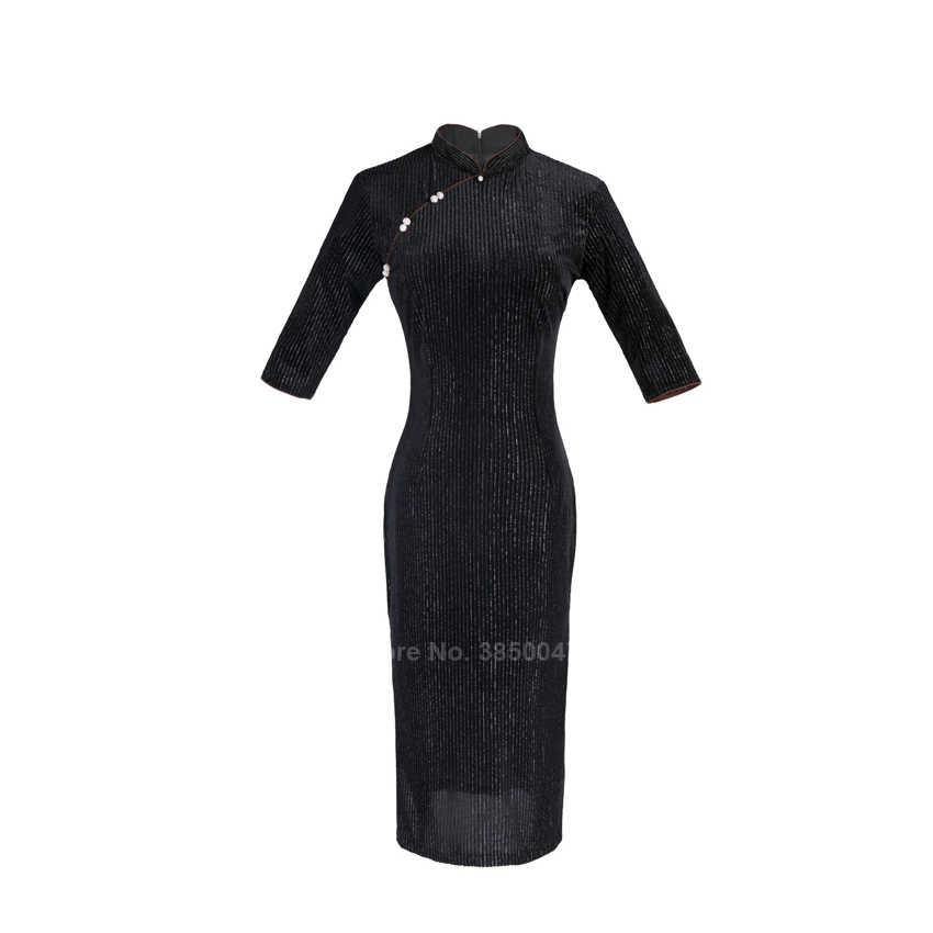חורף קורדרוי חלוקי לנשים מסורתי בגדים סיניים בציר אלגנטי שמלת נקבה חדש שנה Slim Bodycon פיצול Qipao