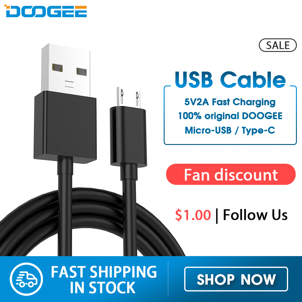 Cable USB estándar Doogee, Cable USB de carga rápida tipo C, Cable de datos de carga Micro USB, Cable de teléfono móvil, Cable USB N20 S68 S40 S95 8mm WiFi 7m endoscopio con Cable duro impermeable USB endoscopio de mano boroscopio cámara de inspección Digital para teléfono