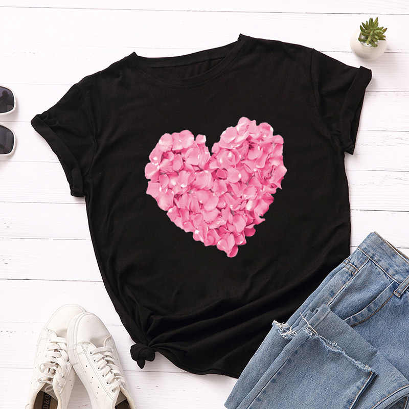 Pink Heart Flower Print Women T-Shirt for Women Casual White Tops Short Sleeve Women T Shirt Love Heart Embroidery Print Female
