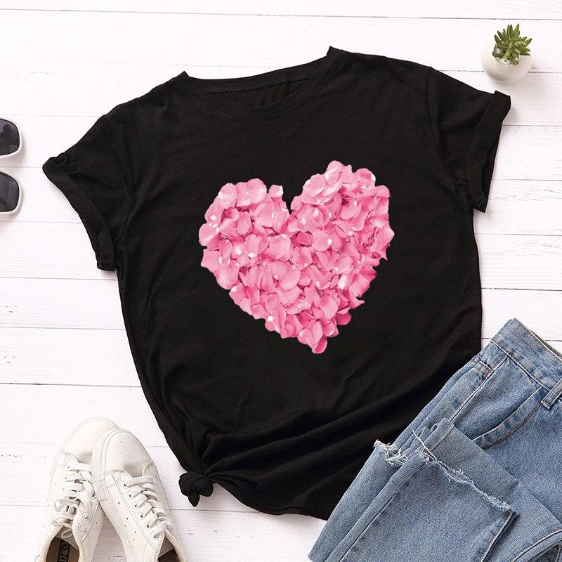 Pink Heart Flower Print Women T-Shirt for Women Casual White Tops Short Sleeve Women T Shirt Love Heart Embroidery Print Female(China)