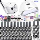 Маникюрный набор со светодиодной лампой для ногтей, 120 Вт, набор для ногтей, 30/20/10 цветов, УФ-Комплект гель-лаков для ногтей, набор инструменто...