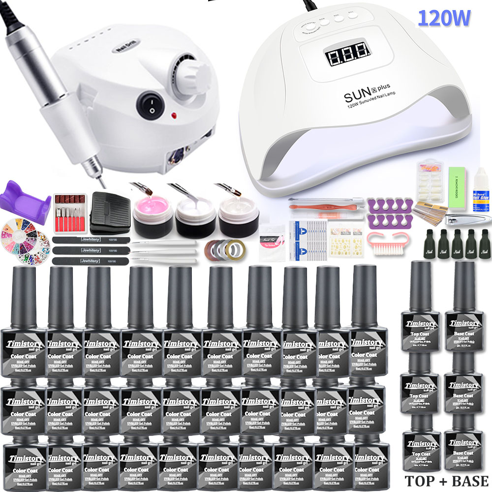Manicure Set With Led Nail Lamp 120W Nail Set 30/20/10 Color UV Gel Nail Polish Kit Tools Set With Nail Drill Machine Nail Files
