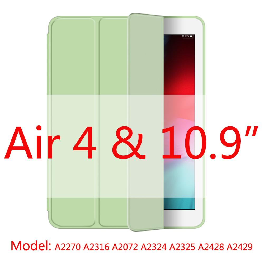 mocha green-Air4 Yellow 2020 New Soft Silicone Case For ipad Air4 with Smart Sleep Wake Funda Capa Case for