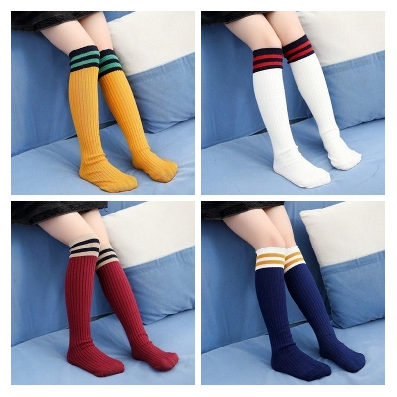 Kids Knee High  Boys Sports Football Stripes Sock Girls School White Socks Children Skate Socks Baby Long Tube Leg Warm Socks