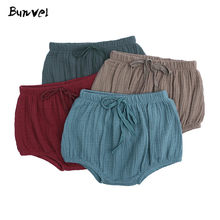 bunvel Baby Bloomers Casual Large PP Shorts Baby Boy Infant Solid Color Cotton Linen Bloomers Toddler Girls Infant Bloomers f(China)