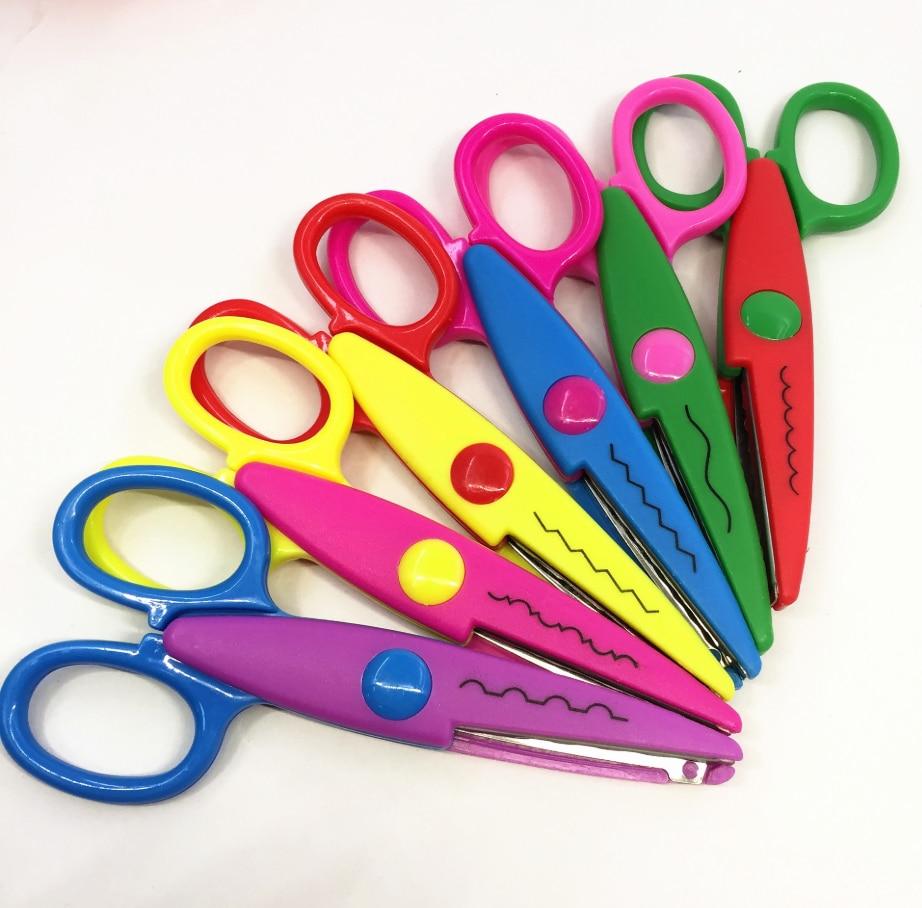5 Inch Children's Craft Scissors Cutting Paper Scrapbook Wavy ZigZag Pointy Lace Scissors Kid Safety Paper Edging DIY Handcraft