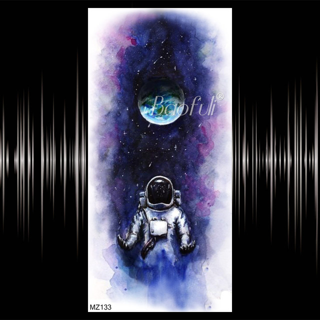 Blue Galaxy Astronaut Temporary Tattoos For Men Women Realistic Planet Chains Tatoo Spaceman Earth Body Art Fake Tattoo Stickers