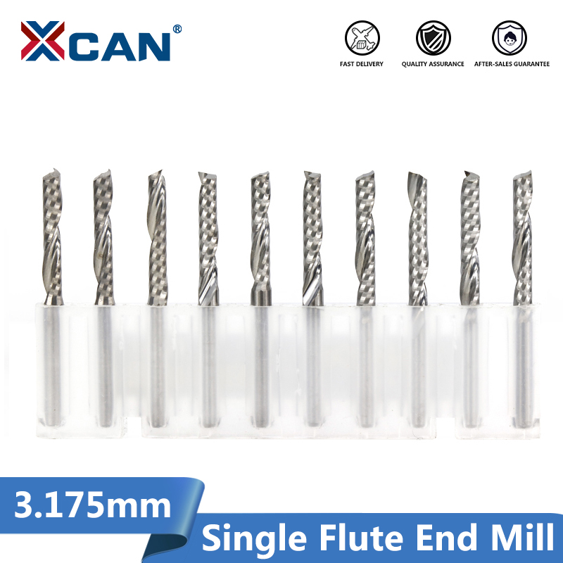 XCAN 10pcs 3.175mm Shank CNC End Mills Cutting Length 15/17/20/22mm One Flute Spiral Router Bits Singe Flute Milling Cutter