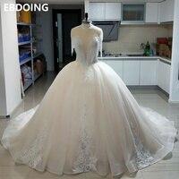 100% real Luxurious Ball Gown Wedding Dress beading Floor length New Arrive Plus Size Chapel Train Wedding Gown Bride Dress