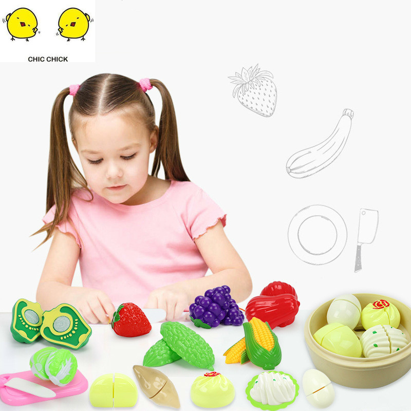 Pretend Play Plastic Food Toy Cutting Fruit Vegetable Children For Chrismas Gift