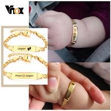 Vnox-Pulseras personalizadas con nombre del bebé, pulseras de acero inoxidable sin alergia para bautismo infantil, regalos de amor para la familia, joyería ajustable