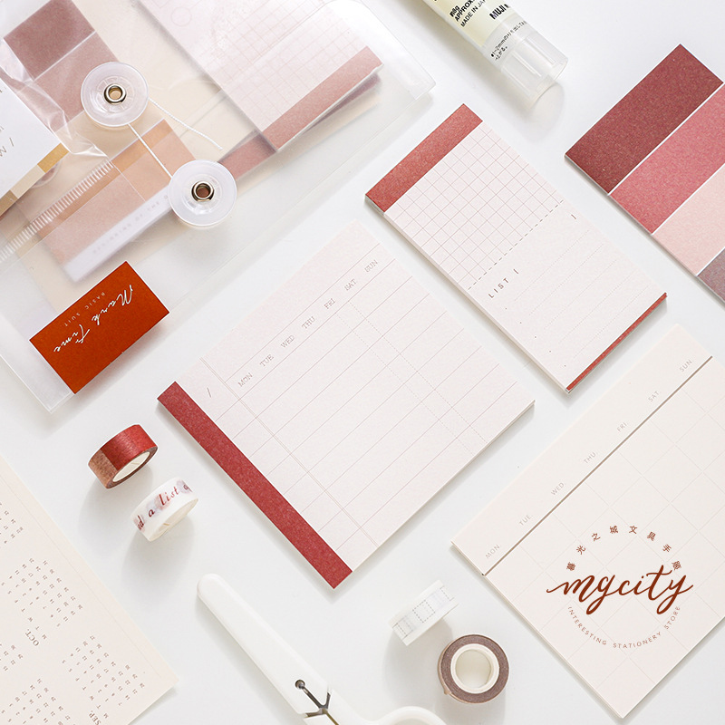 Cool Brief Life Vintage Fashion Memo Pad Collection Pack 182*128mm DIY Monthly Plan+Memo+Washi Tapes