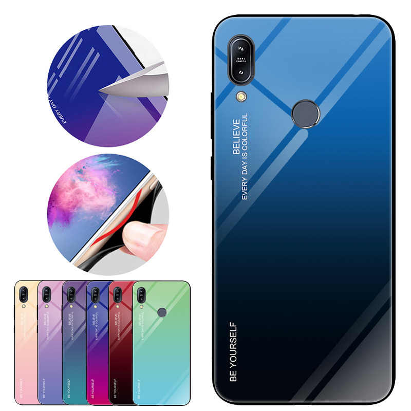 Gradient Tempered Glass Case For Asus Zenfone Max Pro (M1) ZB601KL ZB602KL X00TD X00TDB X00TDA Soft TPU Edge Bumper Shell Fundas
