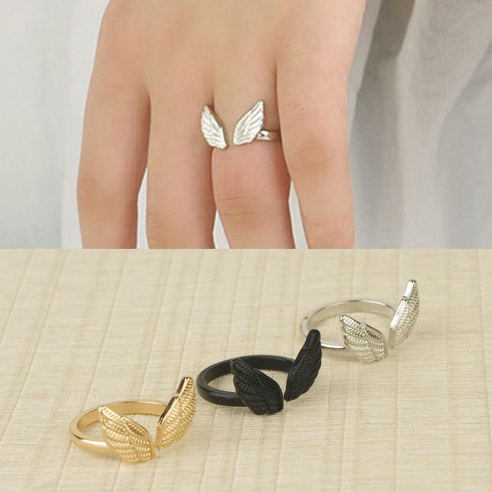 Модное открытое обручальное кольцо с крыльями ангела в стиле ретро