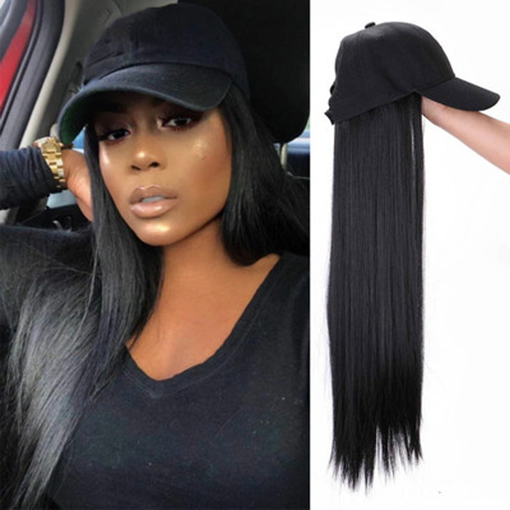 Synthetic Baseball Cap Hair Wig Natural Black / Brown Long Straight Wigs Naturally Connect Synthetic Hat Wig Adjustable For Girl