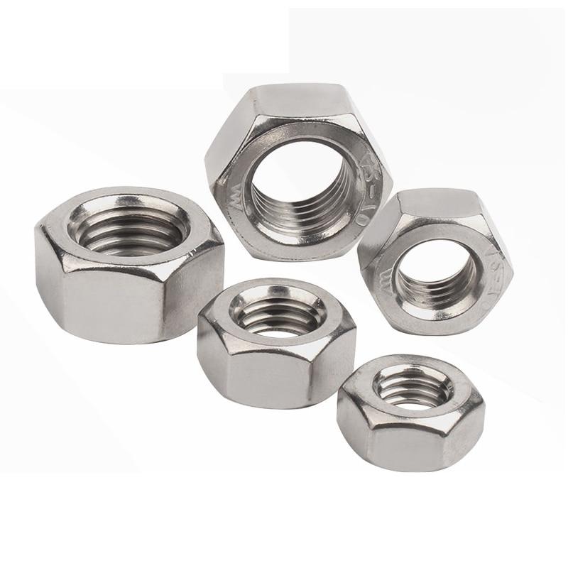 M2 Ladieshow Din934 M2-M5 Tuercas hexagonales hexagonales de rosca m/étrica de acero al carbono galvanizado negro 100 piezas