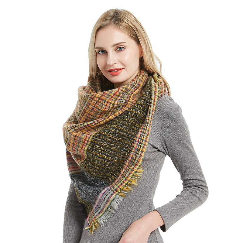 19 Europe And America Autumn And Winter New Style Bristle Pinstriped Triangular Binder Kerchief Scarf Women's Similar To Cashmer