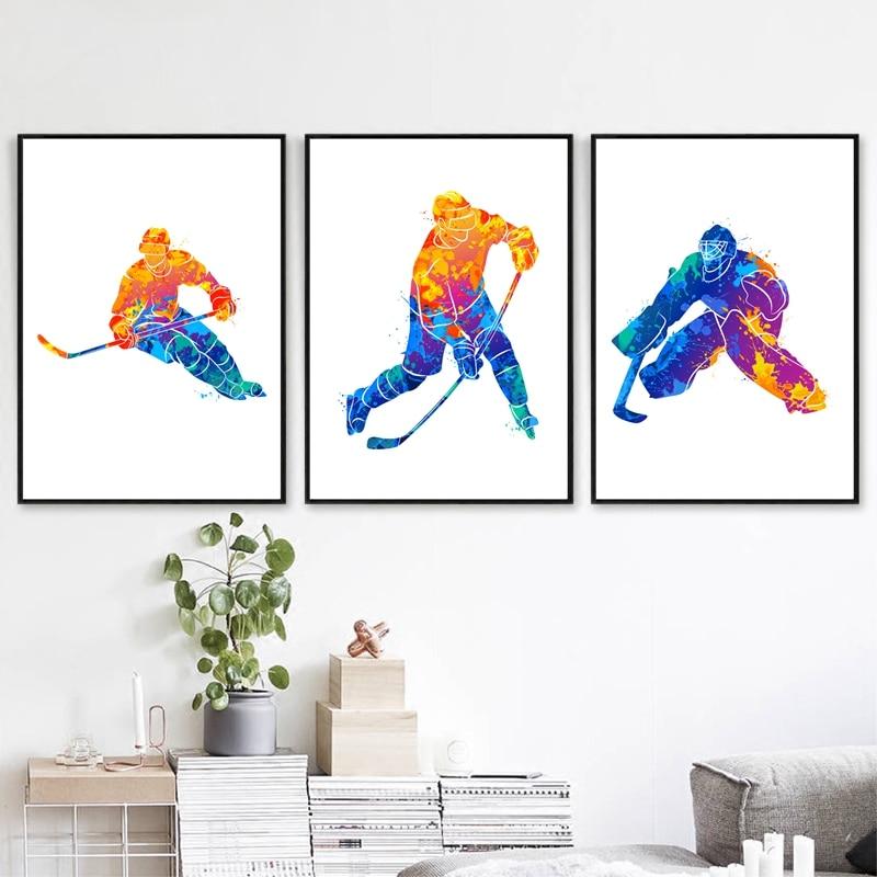Watercolor Winter Sport Poster Home Decor