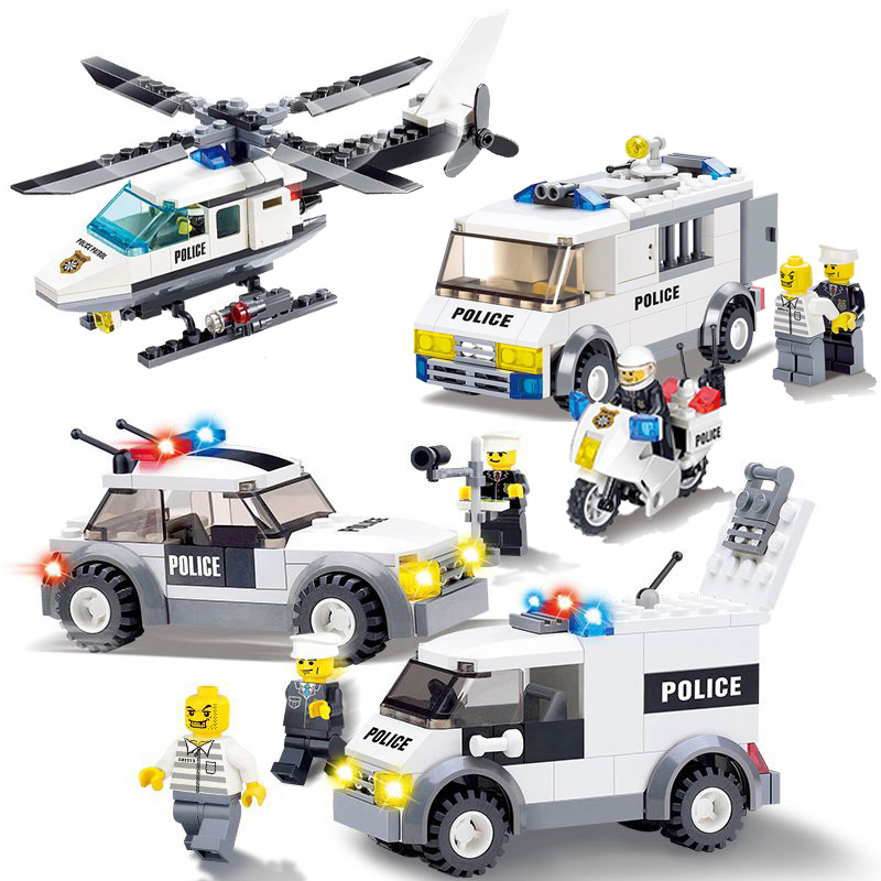 City Mini Police Figure Motorcycle Vehicle Helicopter Prisoner Car Boat Building Blocks Bricks Legoinglys Toys For Children