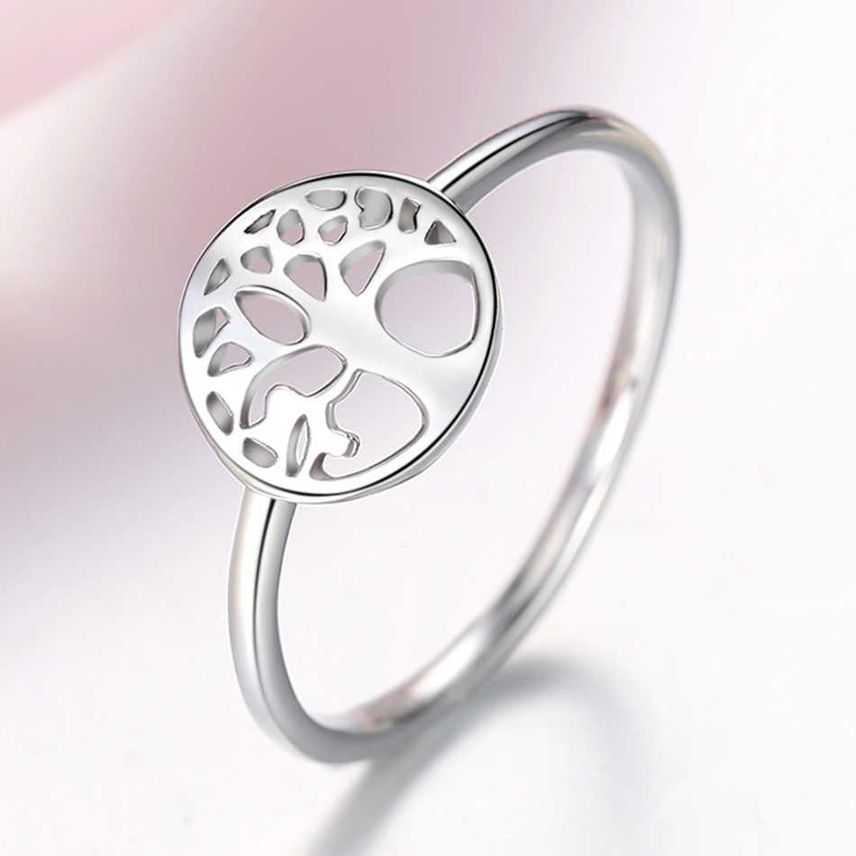 FOREWE 100% Настоящее 925 пробы Серебряное классическое кольцо простое Древо жизни кольца на палец для женщин модное ювелирное изделие Рождественский подарок