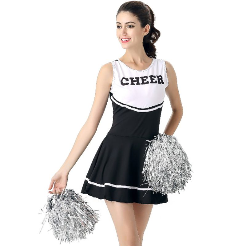 6 Colors ! School Girl Music Mini Dress Cheerleader Uniforms Sexy Girl Stage Performance Female
