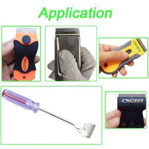 Image 5 - CNGZSY cuchillas de Metal de seguridad, rascador de pegamento, cuchillo limpiador de vidrio, hoja de acero de carbono de repuesto, herramientas de tintado de coche E13, 100 Uds.