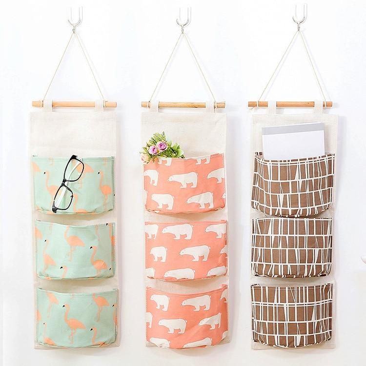Cotton Linen Hanging Storage Bag Hanging Multilayer Hanging Bag Fabric 3 Squares Debris Storage Bag
