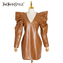 TWOTWINSTYLE Vintage PU Leather Dresses For Female V Neck Puff Sleeve High Waist Ruched Womens Dress 2019 Fashion Clothing Tide