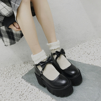 Japanese Sweet Lolita Princess Shoes Cute Bow Round Head Black Waterproof Platform College Women Shoes