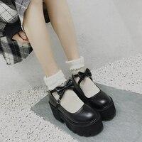 Japanese Sweet Lolita Princess Shoes Cute Bow Round Head Black Waterproof Platform College Women Shoes