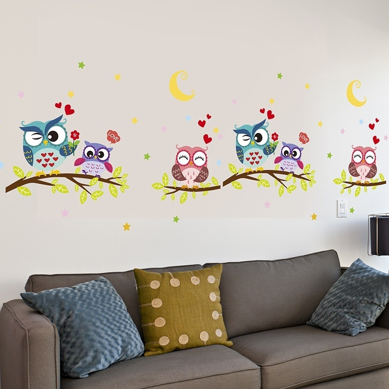 Wallpaper Sticker Happy Removable Waterproof Cartoon Animal Owl Wall Sticker Kids Home Decor Wallpapers For Living Room 4