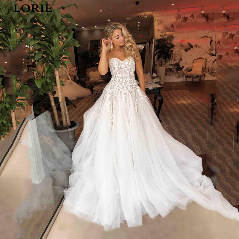 LORIE Princess Wedding Dress Sweetheart Appliqued With Flowers A-Line Boho Wedding Gown Vestidos De Novia Bride Dress