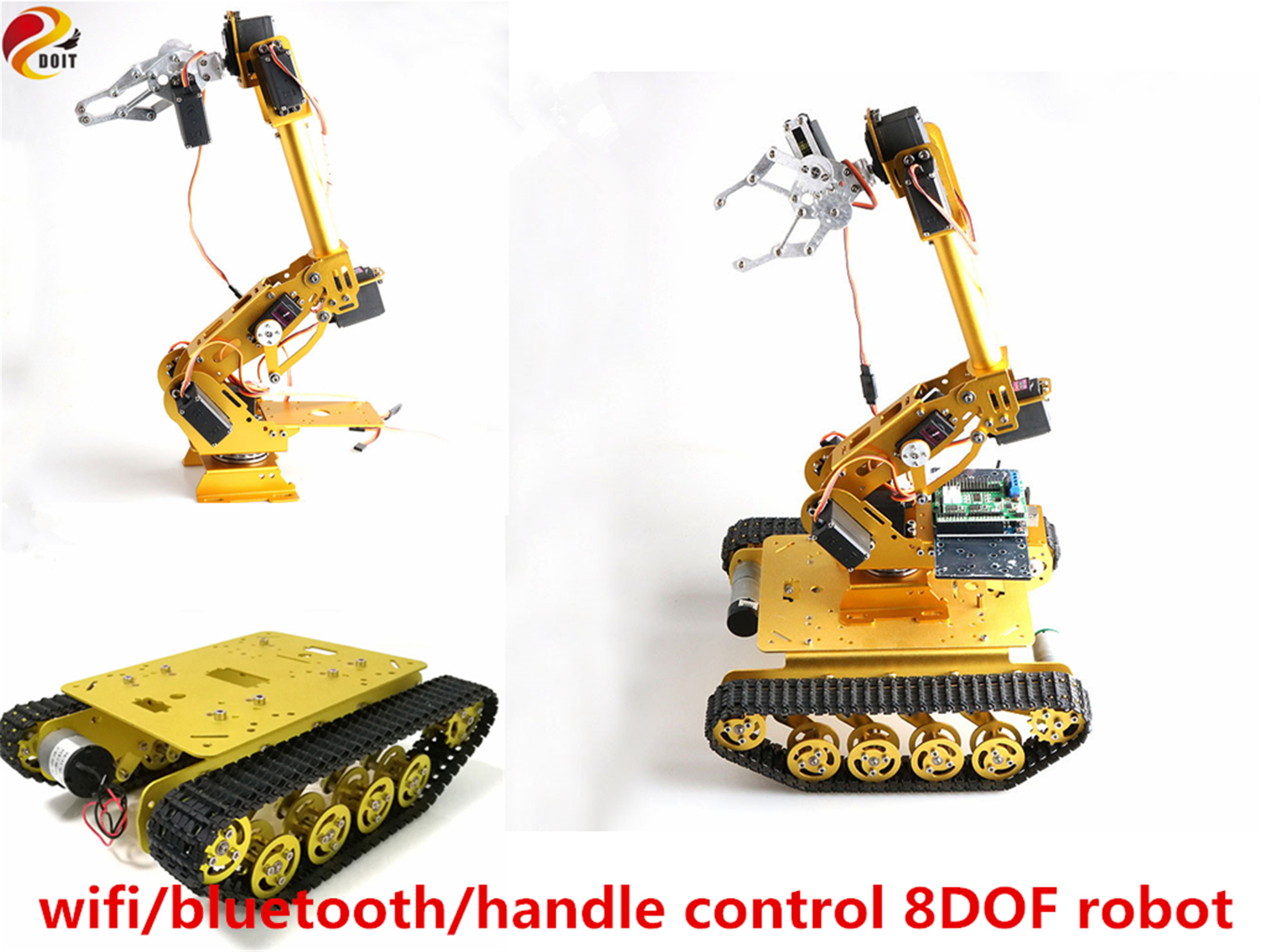 SZDOIT Wifi/Bluetooth/Handle Control 8DOF Vehicle Robot 8-Axis Robot Arm with Gripper +TS100 Tank Chassis Kit Servos for Arduino