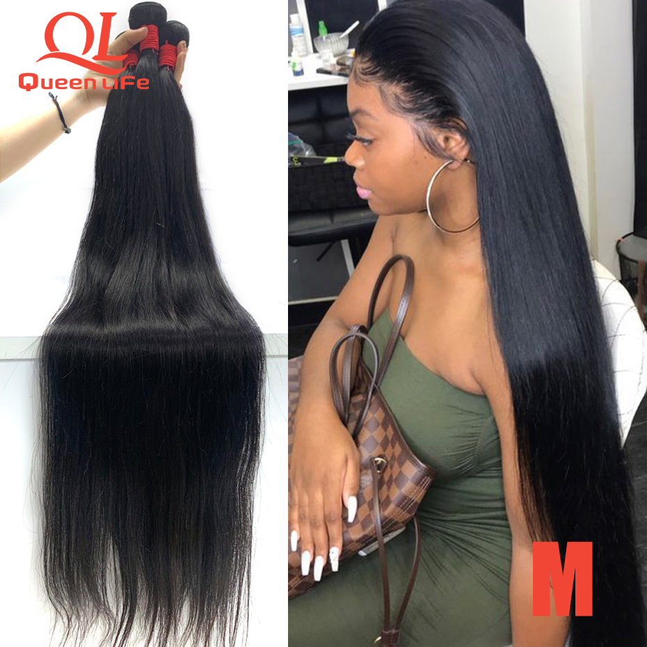 Queenlife 38 40inch-Bundles Weave Remy-Hair Human 8-30inch Straight Peruvian Silky 36 title=