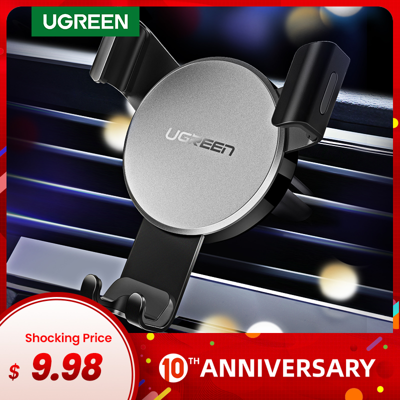 Ugreen Car Phone Holder For IPhone Xs X 8 7 Air Vent Mount Metal Plate Cellphone Grip Holder For Phone Mobile Phone Holder Stand
