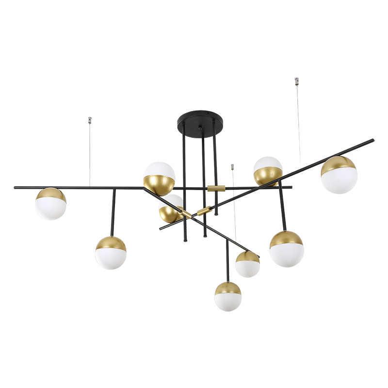 Современный светильник-люстра, стеклянный абажур и Железный держатель E27, светодиодный светильник в комплекте для спальни, гостиной, столовой, подвесной светильник