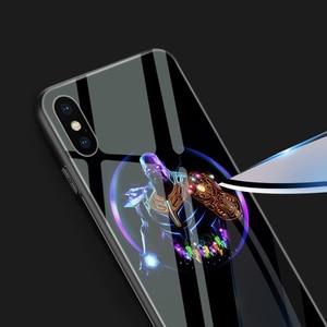 Image 2 - Ciciber Marvel Leuchtenden Glas Fall für iPhone 11 fall 7 8 6 6S Plus shell Abdeckung für iPhone 11 pro Max XR X XS Max Coque Eisen Mann