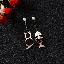 New Cute Cat Fish Earrings Kawaii Fishbone Stud For Women Irregular Fashion Asymmetric Jewelry Gifts