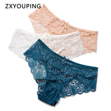 3pcs/lot Sexy Lace Panties Women Underwear Plus Size Briefs Hollow Out Transparent Lingerie Female Low Waist Breathable Panty