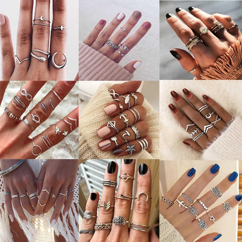 Ywzixln anéis boho feminino, conjunto flecha da lua, decoração da mão, anel vintage, cor prata, anel midi, charme, presente para mulheres atacado j022
