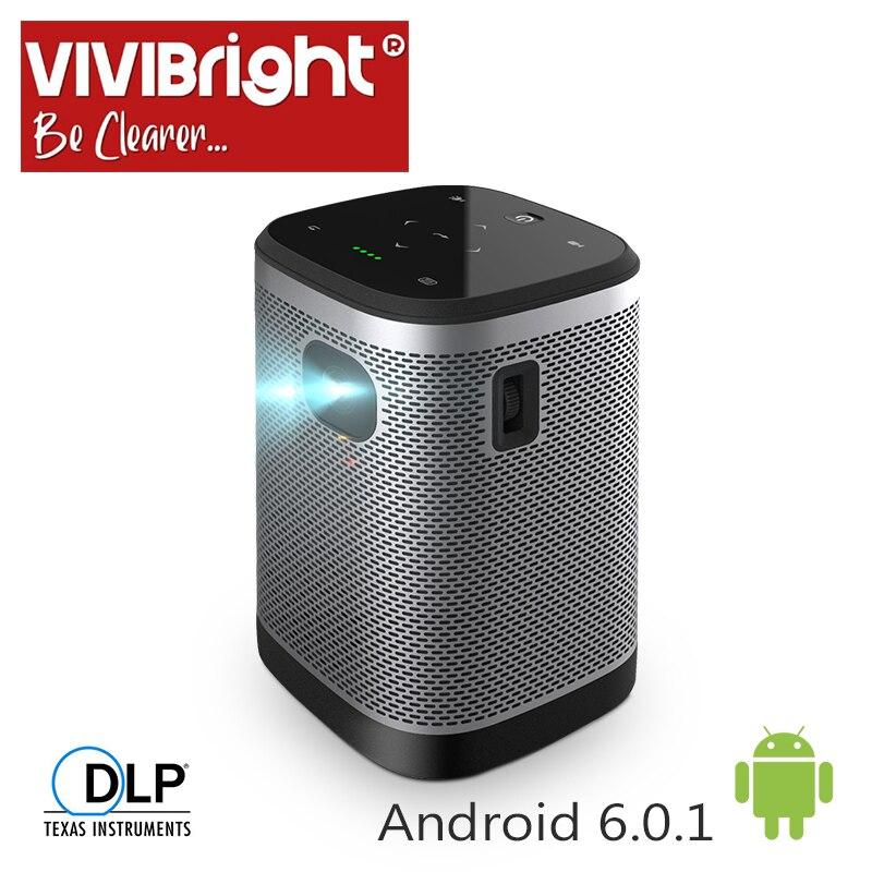VIVIBRIGHT Portable Projector L2  12000mAH Battery Android6.0 (1G+8G) HIFI Speaker for 3D LED beamer. Support 4K home cinema|  - title=