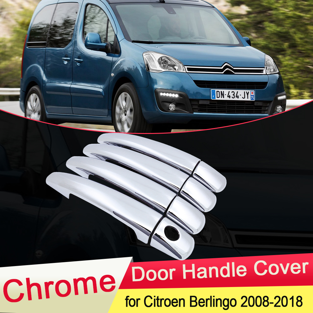 for <font><b>Citroen</b></font> <font><b>Berlingo</b></font> <font><b>2008</b></font> 2009 2010 2011 2012 2013 2014 2015 2016 2017 2018 Chrome Door Handle Cover Car Set Styling Accessories image
