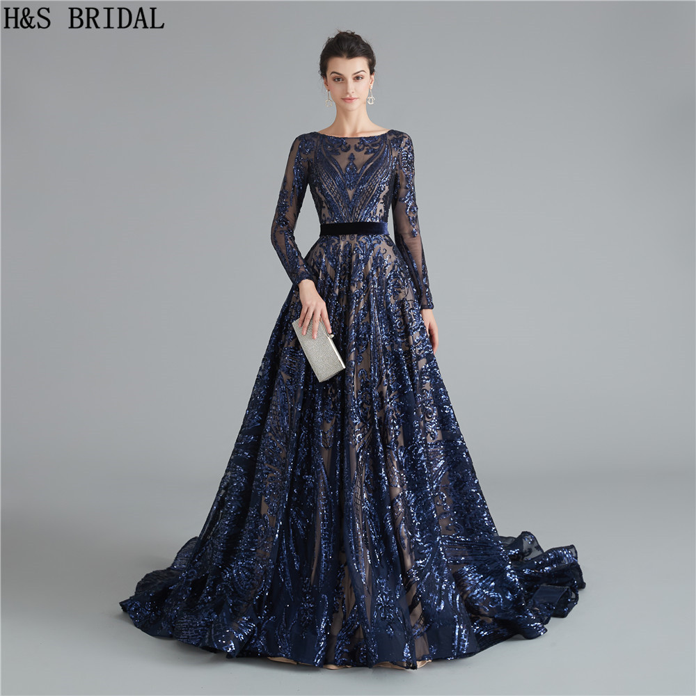 Navy Blue Long Sleeves   Prom     Dresses   Sequins   dress     prom   Backless   prom     dresses   2019 evening gowns robe de soiree formal   dress
